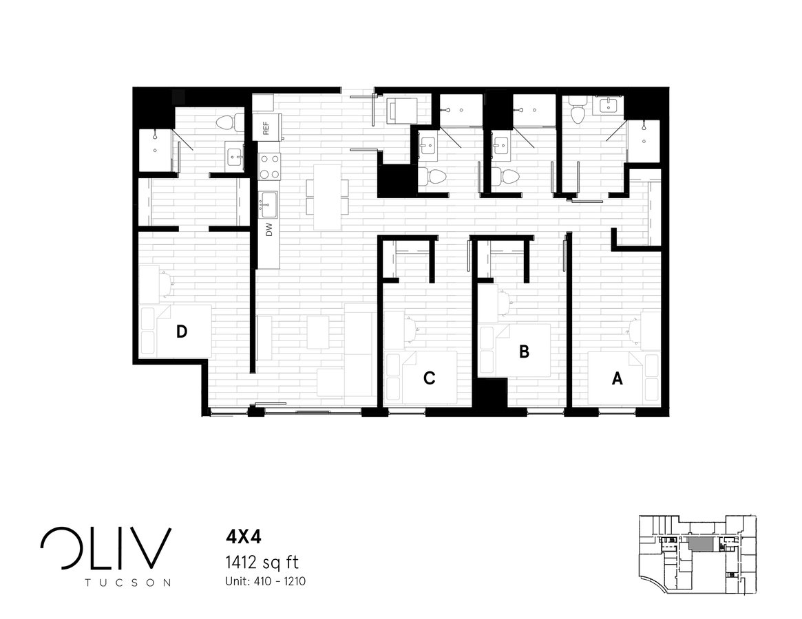 4 Bedrooms 4+ Bathrooms Apartment for rent at ōliv Tucson in Tucson, AZ