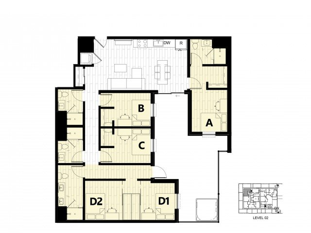 4 Bedrooms 4+ Bathrooms Apartment for rent at Hub On Campus Gainesville 3rd Avenue in Gainesville, FL