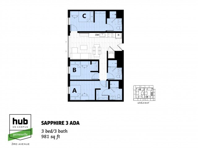 3 Bedrooms 3 Bathrooms Apartment for rent at Hub On Campus Gainesville 3rd Avenue in Gainesville, FL