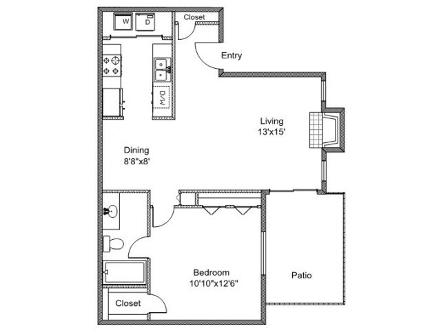 1 Bedroom 1 Bathroom Apartment for rent at Quail Creek in Tyler, TX