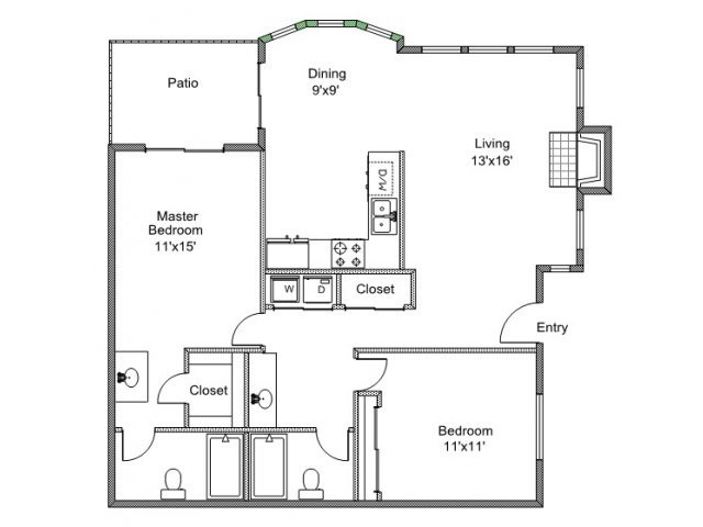 2 Bedrooms 2 Bathrooms Apartment for rent at Quail Creek in Tyler, TX