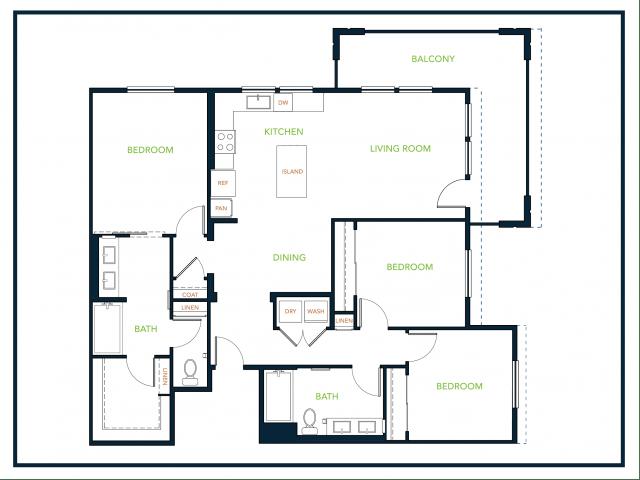 3 Bedrooms 2 Bathrooms Apartment for rent at Blu Harbor Apartments in Redwood City, CA