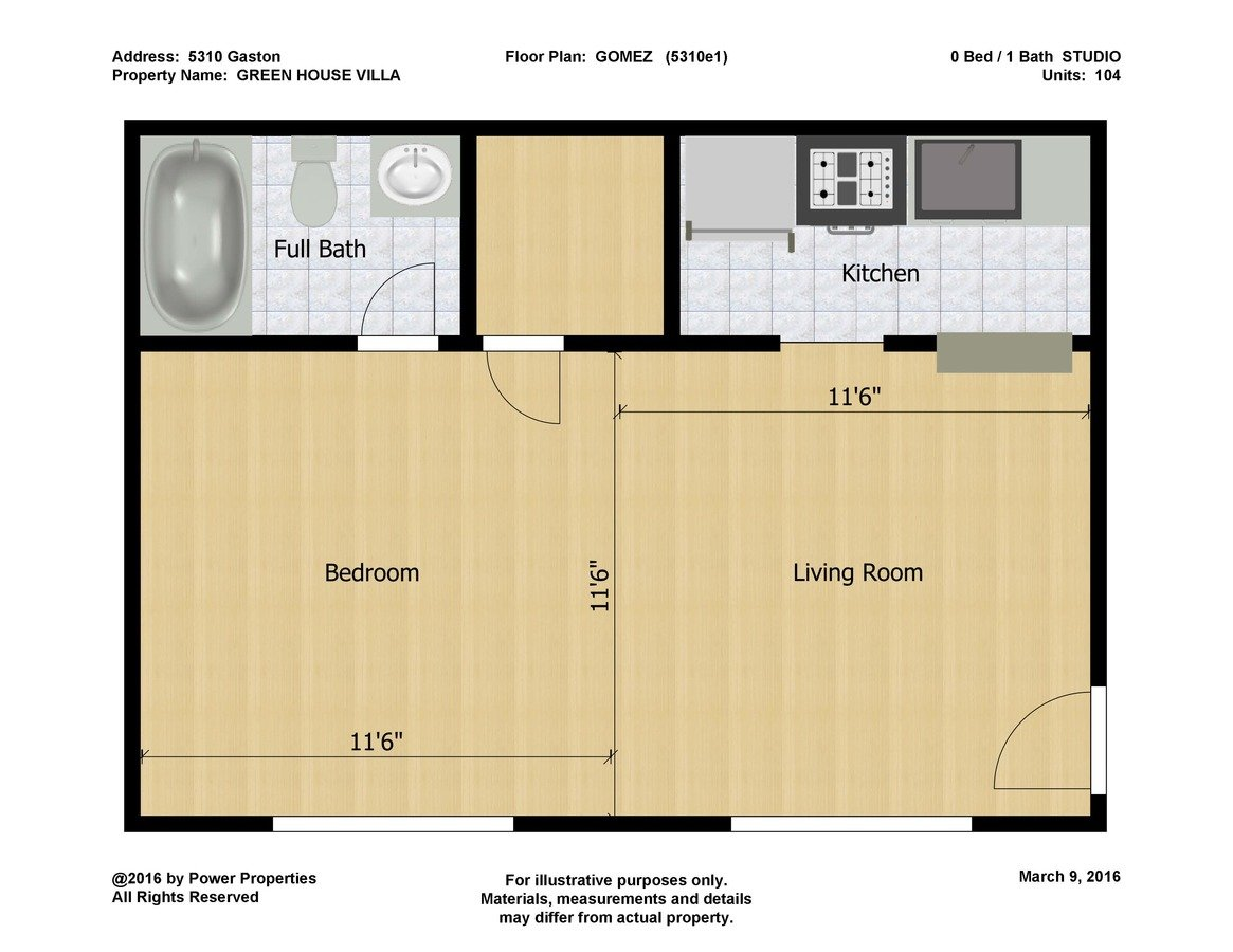 Studio 1 Bathroom Apartment for rent at Green House Villa in Dallas, TX