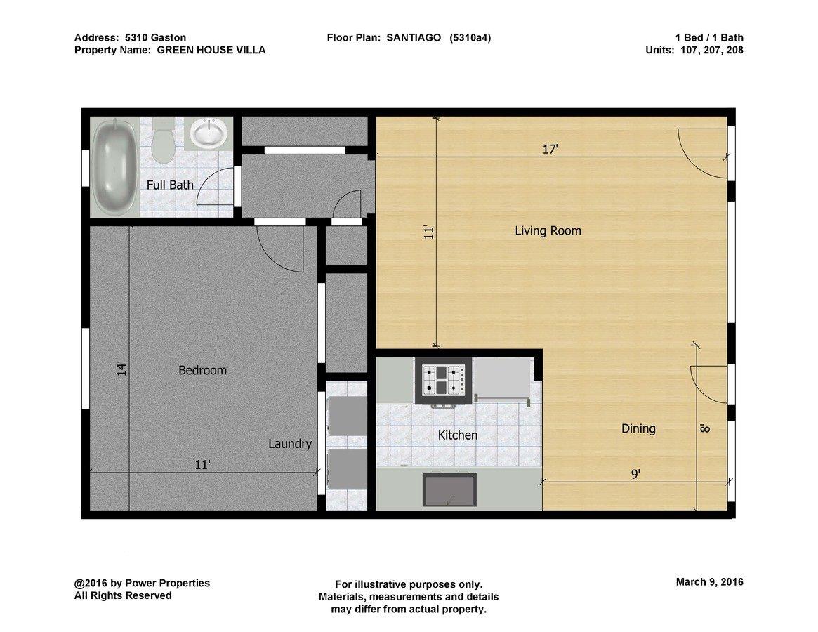 1 Bedroom 1 Bathroom Apartment for rent at Green House Villa in Dallas, TX