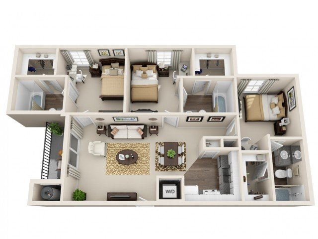 3 Bedrooms 3 Bathrooms Apartment for rent at Gateway At College Station in College Station, TX