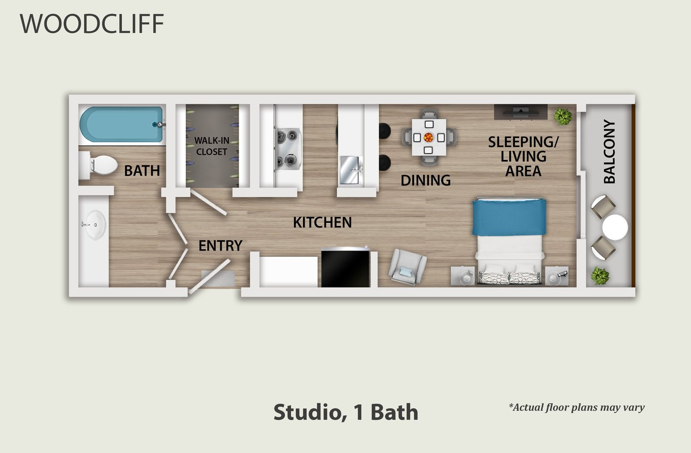 Studio 1 Bathroom Apartment for rent at Woodcliff in Los Angeles, CA