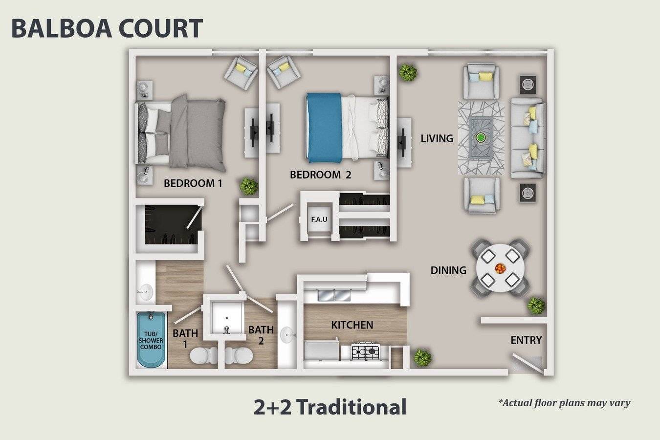 2 Bedrooms 2 Bathrooms Apartment for rent at Balboa Court in North Hills, CA