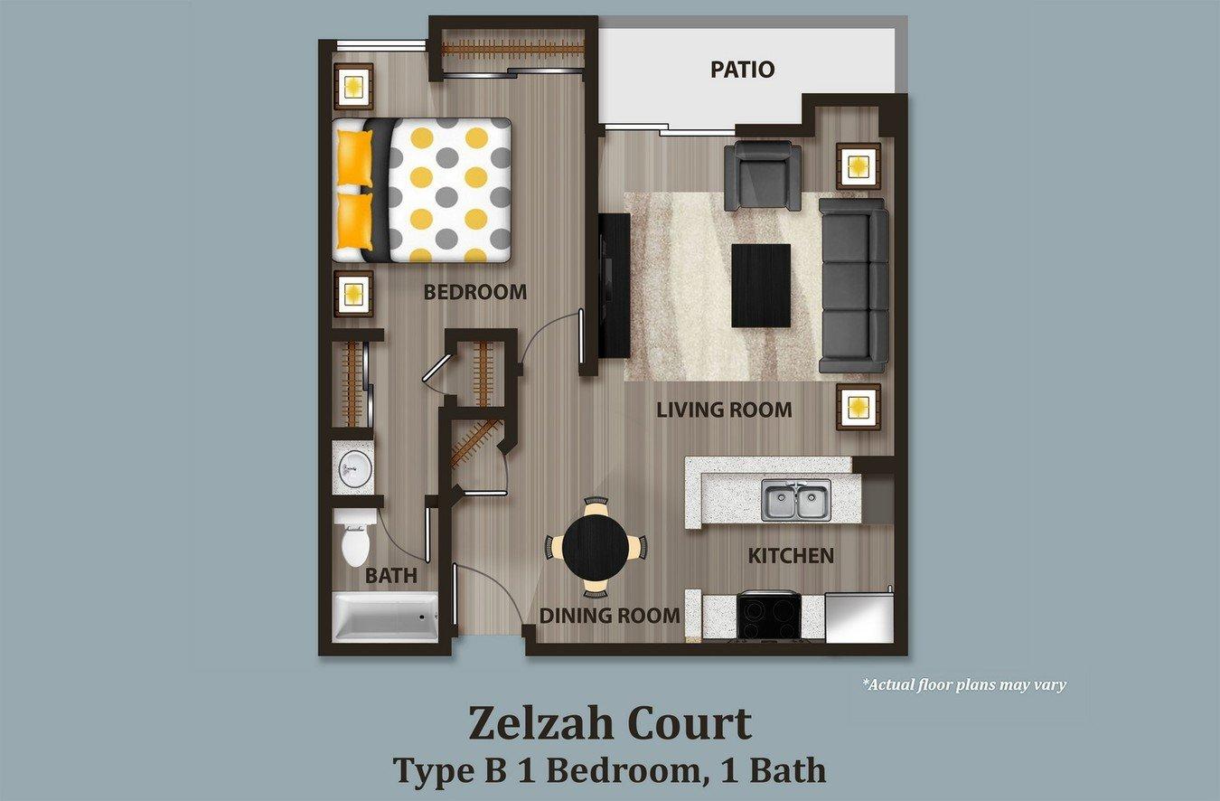 1 Bedroom 1 Bathroom Apartment for rent at Zelzah Court in Northridge, CA