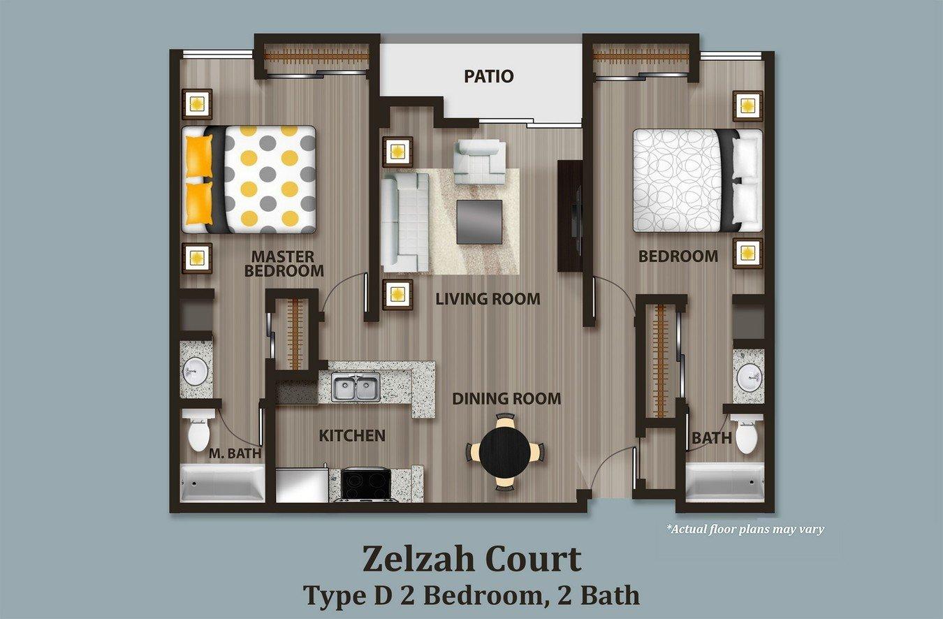 2 Bedrooms 2 Bathrooms Apartment for rent at Zelzah Court in Northridge, CA