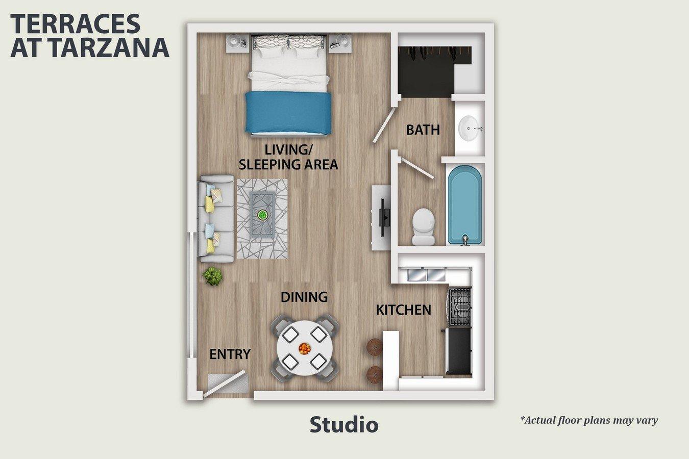 Studio 1 Bathroom Apartment for rent at Terraces at Tarzana in Tarzana, CA