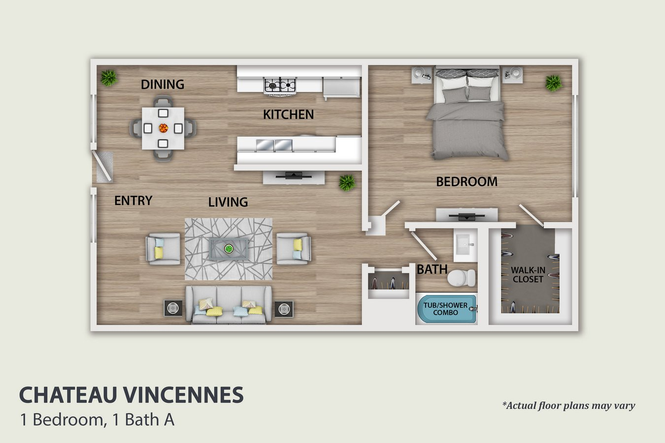 1 Bedroom 1 Bathroom Apartment for rent at Chateau Vincennes in Northridge, CA