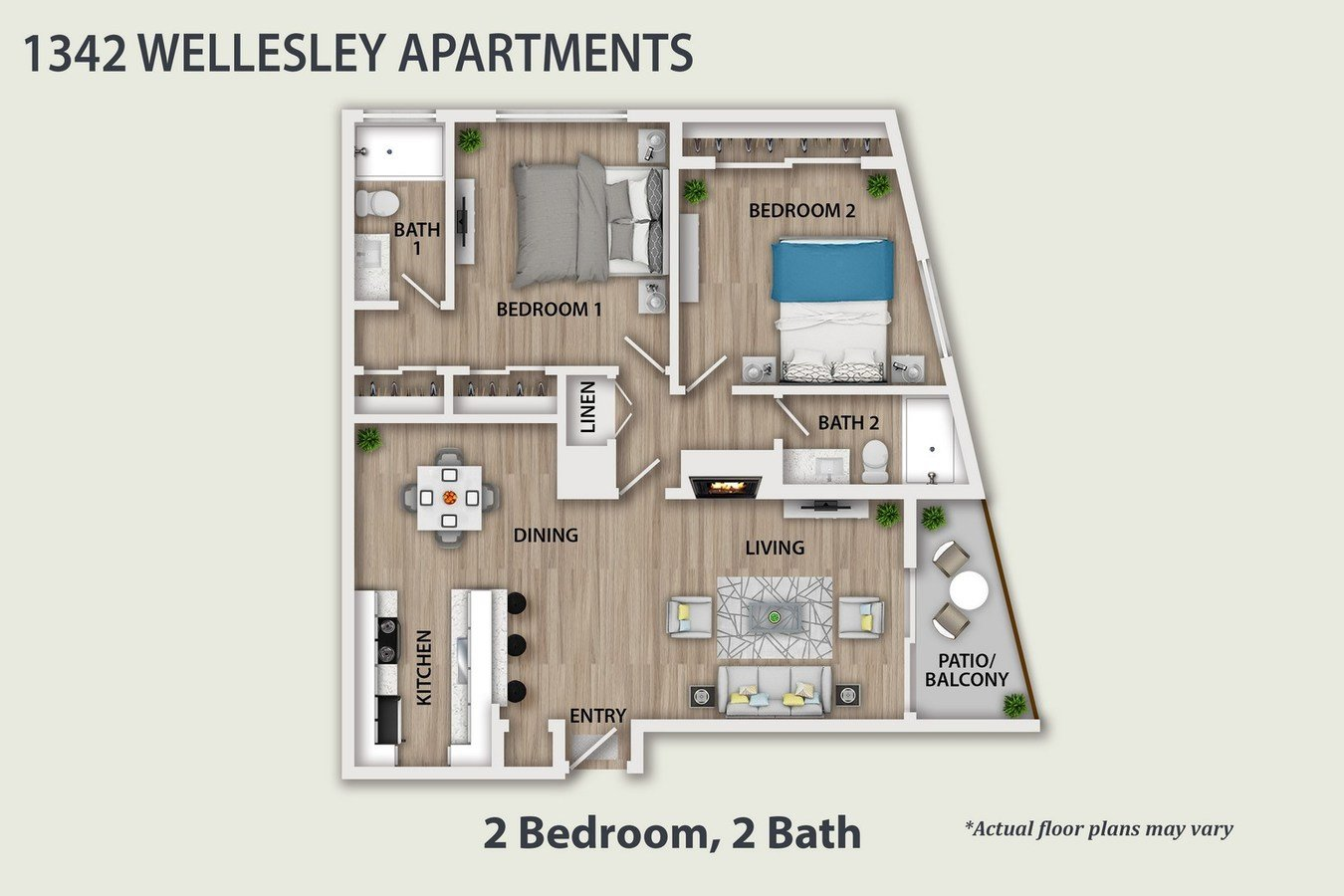 2 Bedrooms 2 Bathrooms Apartment for rent at 1342 Wellesley Ave in Los Angeles, CA