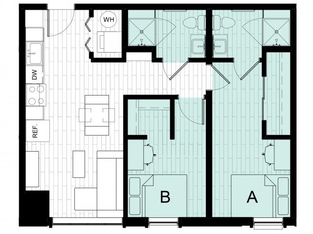 2 Bedrooms 2 Bathrooms Apartment for rent at Hub On Campus East Lansing in East Lansing, MI