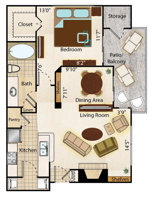 1 Bedroom 1 Bathroom Apartment for rent at Mountainside Apartments in Phoenix, AZ