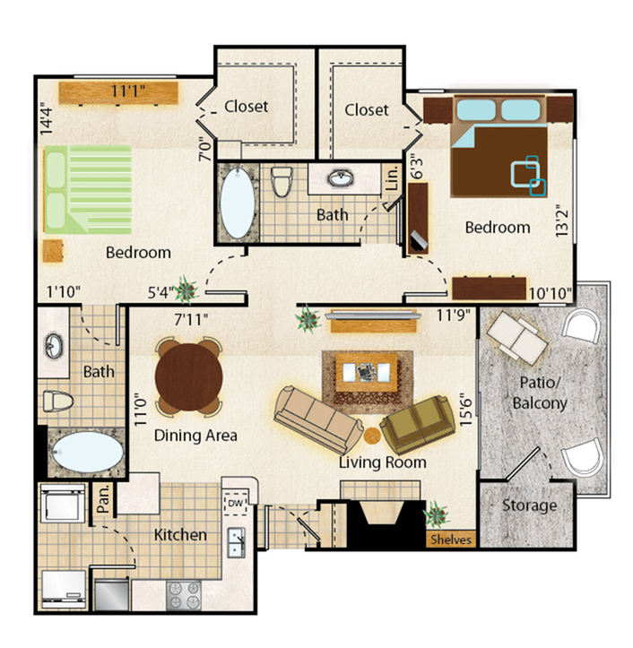 2 Bedrooms 2 Bathrooms Apartment for rent at Mountainside Apartments in Phoenix, AZ