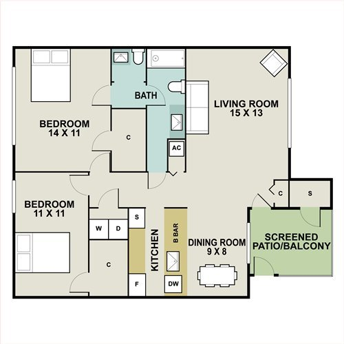 2 Bedrooms 1 Bathroom Apartment for rent at Goldelm At West Winds in Orlando, FL
