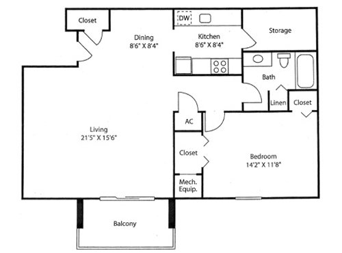 1 Bedroom 1 Bathroom Apartment for rent at Goldelm At Cedar Bluff in Knoxville, TN