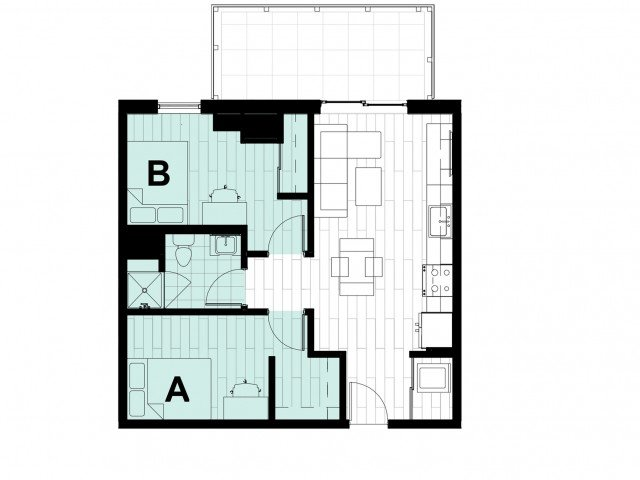2 Bedrooms 1 Bathroom Apartment for rent at Hub State Street in West Lafayette, IN