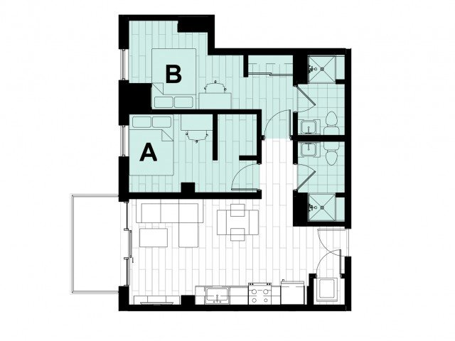 2 Bedrooms 2 Bathrooms Apartment for rent at Hub State Street in West Lafayette, IN