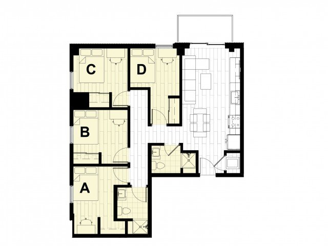 4 Bedrooms 2 Bathrooms Apartment for rent at Hub State Street in West Lafayette, IN
