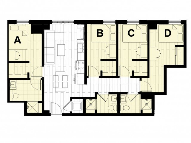 4 Bedrooms 3 Bathrooms Apartment for rent at Hub State Street in West Lafayette, IN
