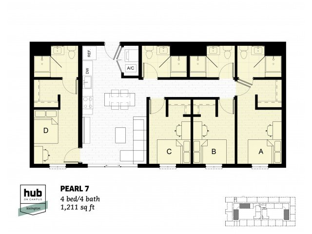 4 Bedrooms 4+ Bathrooms Apartment for rent at Hub On Campus Lexington in Lexington, KY