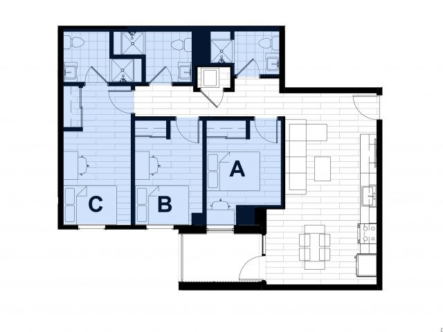 3 Bedrooms 2 Bathrooms Apartment for rent at Hub on Campus West Lafayette in West Lafayette, IN