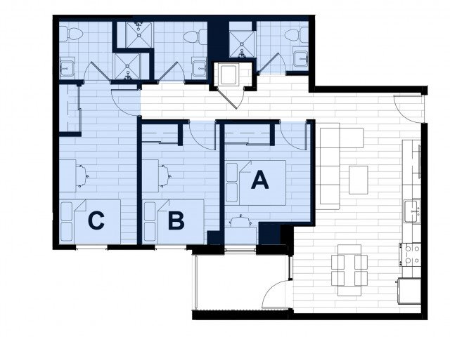 3 Bedrooms 3 Bathrooms Apartment for rent at Hub on Campus West Lafayette in West Lafayette, IN
