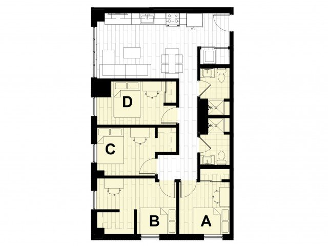 4 Bedrooms 2 Bathrooms Apartment for rent at Hub on Campus West Lafayette in West Lafayette, IN