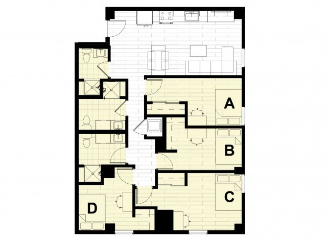 4 Bedrooms 3 Bathrooms Apartment for rent at Hub on Campus West Lafayette in West Lafayette, IN
