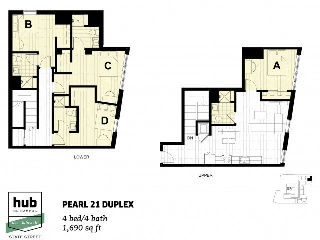 4 Bedrooms 4+ Bathrooms Apartment for rent at Hub on Campus West Lafayette in West Lafayette, IN
