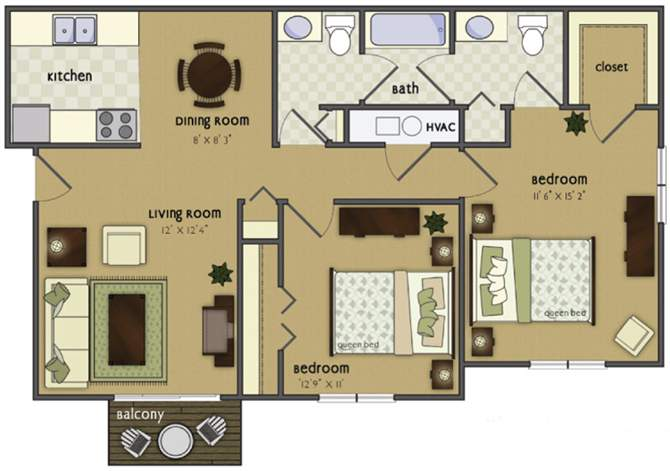 2 Bedrooms 1 Bathroom Apartment for rent at Glen Oaks By Broadmoor in Sioux City, IA