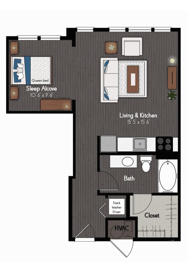 Studio 1 Bathroom Apartment for rent at Broadmoor At River's Edge in Omaha, NE