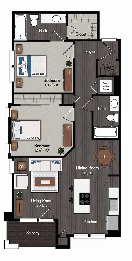 2 Bedrooms 2 Bathrooms Apartment for rent at Broadmoor At River's Edge in Omaha, NE