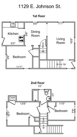 3 Bedrooms 1 Bathroom Apartment for rent at 1129 E. Johnson in Madison, WI