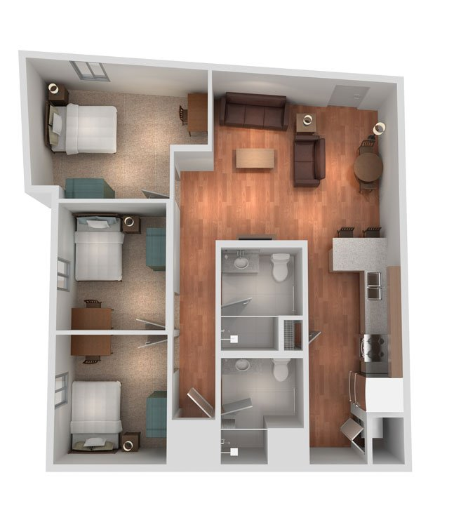 3 Bedrooms 2 Bathrooms Apartment for rent at Sterling Campus Center in Charleston, SC