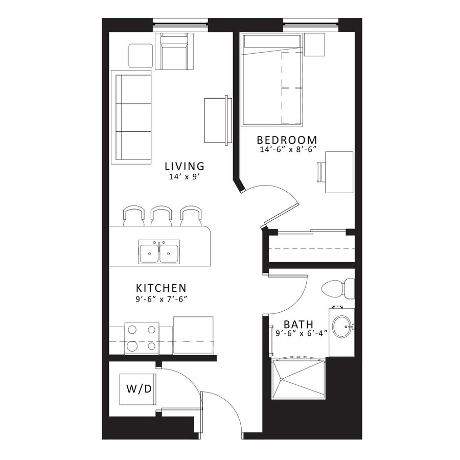 1 Bedroom 1 Bathroom Apartment for rent at Sterling Arbor Blu in Ann Arbor, MI