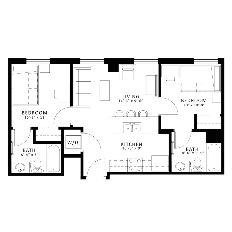 2 Bedrooms 2 Bathrooms Apartment for rent at Sterling Arbor Blu in Ann Arbor, MI