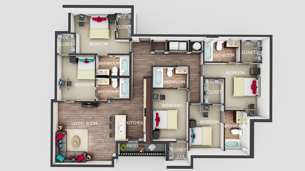 5 Bedrooms 4+ Bathrooms Apartment for rent at Sterling Northgate in College Station, TX