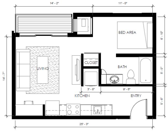 Studio 1 Bathroom Apartment for rent at The Bridges in Bettendorf, IA
