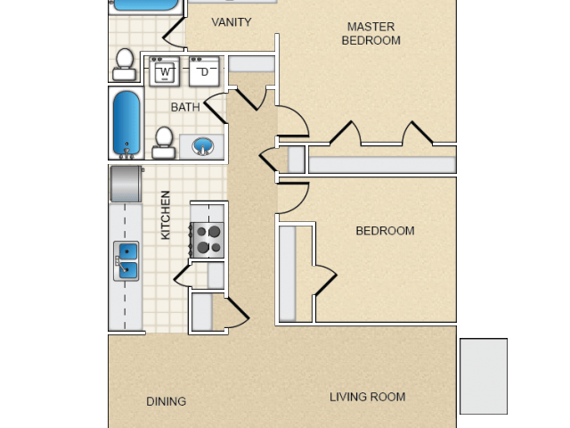 2 Bedrooms 2 Bathrooms Apartment for rent at Live Here in City, CA