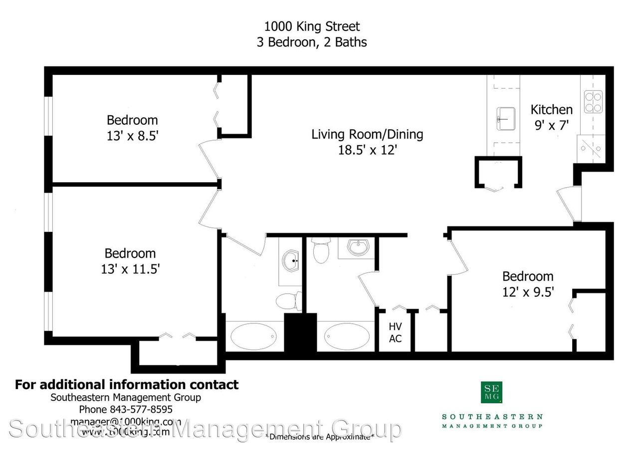 3 Bedrooms 2 Bathrooms Apartment for rent at 1000 King St in Charleston, SC