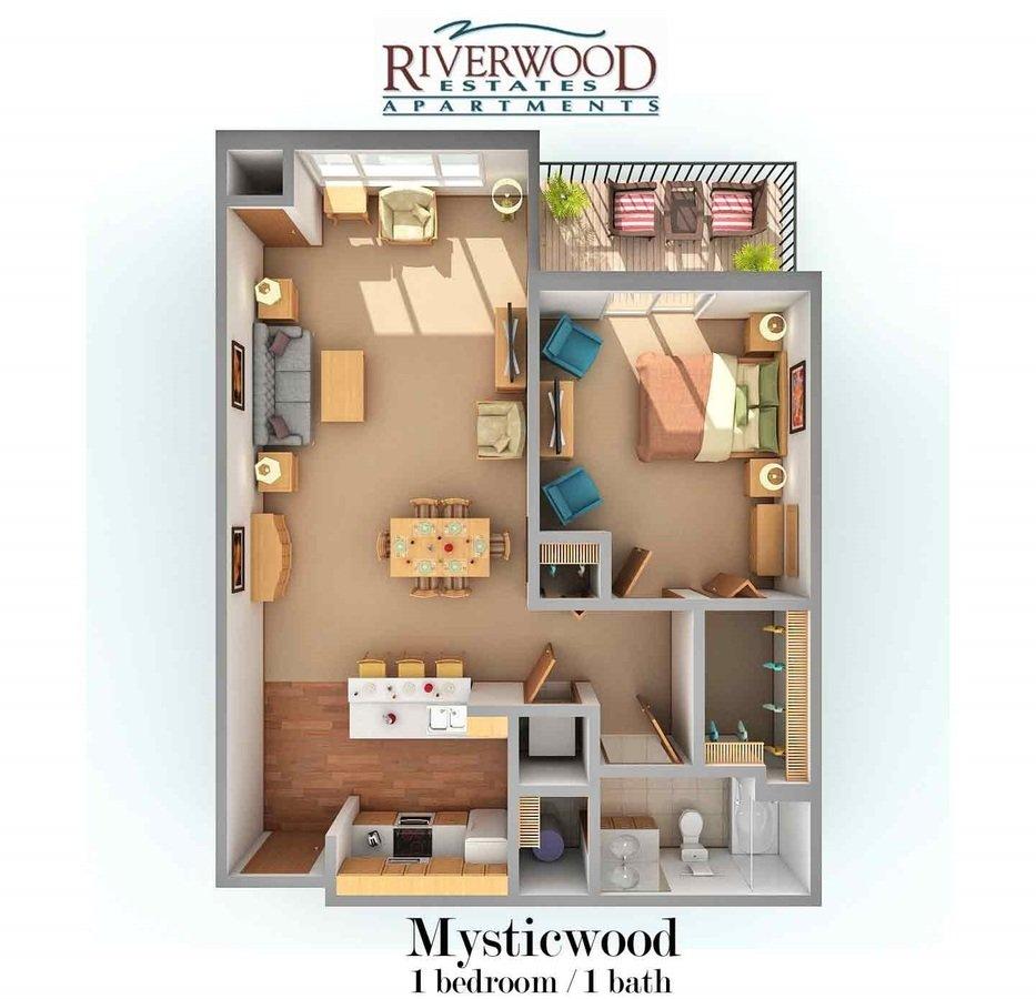 1 Bedroom 1 Bathroom Apartment for rent at Riverwood Estates Apartments in Oak Creek, WI