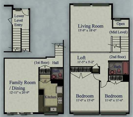 2 Bedrooms 2 Bathrooms Apartment for rent at Clayton Park Townhouses in Glendale, WI