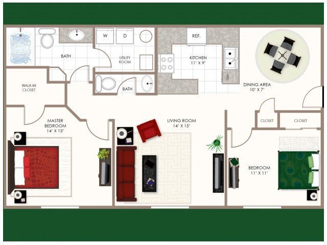 2 Bedrooms 1 Bathroom Apartment for rent at The Estates At Brentwood Lake in Reynoldsburg, OH