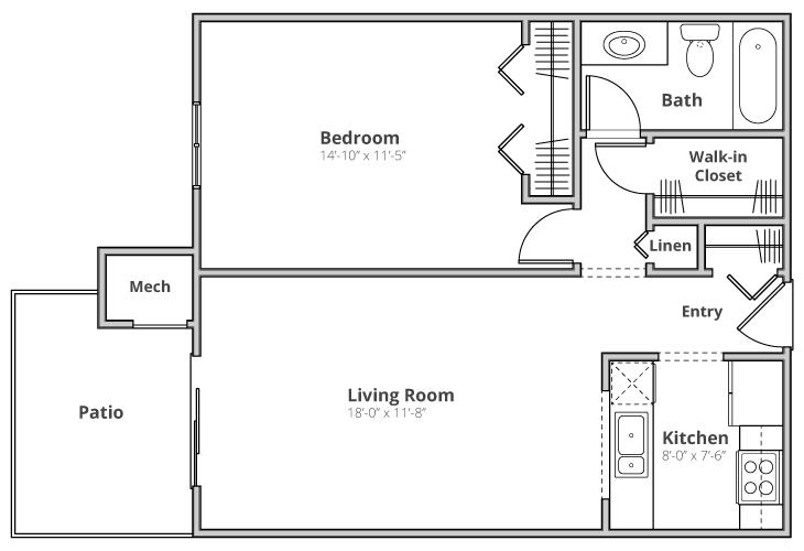 1 Bedroom 1 Bathroom Apartment for rent at Benson Hills in Haslett, MI