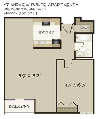 1 Bedroom 1 Bathroom Apartment for rent at Grandview Pointe in Pittsburgh, PA
