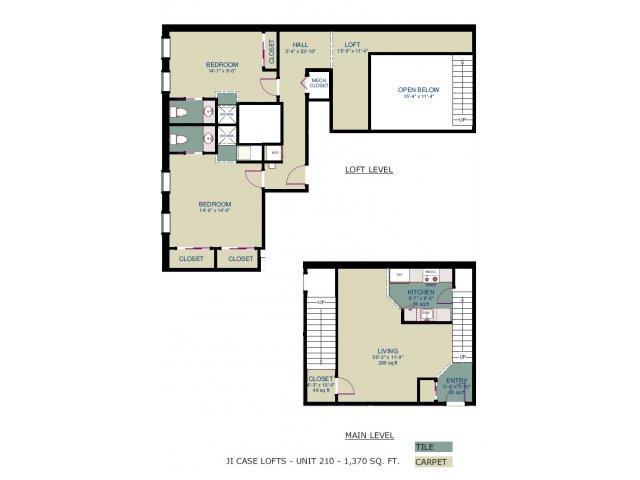 2 Bedrooms 2 Bathrooms Apartment for rent at JI Case Lofts in Lansing, MI