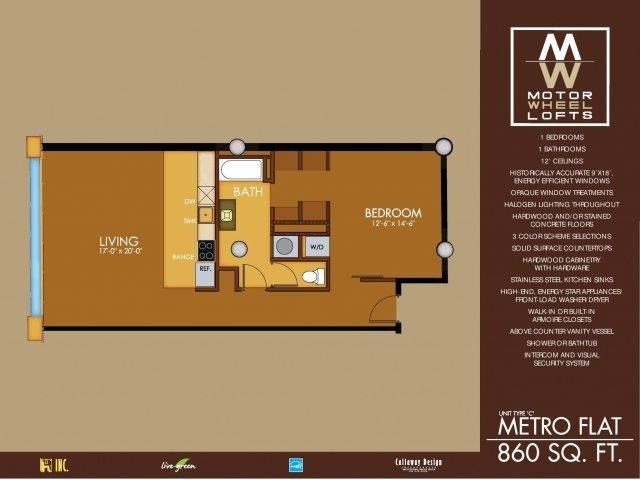 1 Bedroom 1 Bathroom Apartment for rent at Motorwheel Lofts in Lansing, MI