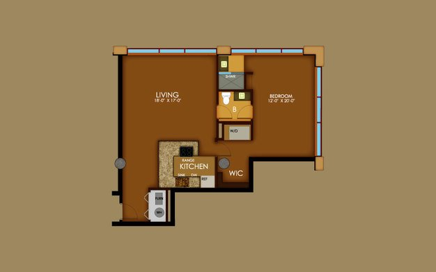 1 Bedroom 1 Bathroom Apartment for rent at Motorwheel Lofts in Lansing, MI